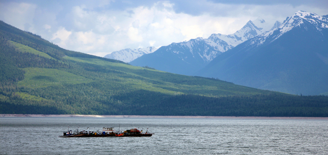 Alone on the lake the barge motors towards Mica. Jennifer Walker-Larsen photo courtesy of BC Hydro