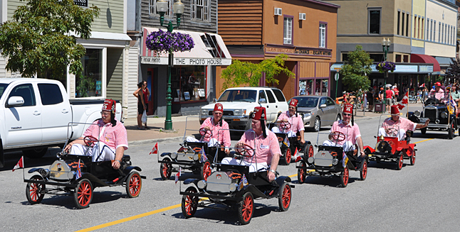 The Shriners motored here from Vernon to show off their mini-cars. David F. Rooney photo