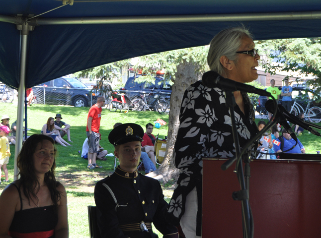 Marilyn James of the Sinixt First Nation speaks to the crowd at Queen Elizabeth Park. James applauded Canada's approach to minorities and invoked a traditional native blessing on the community's celebration. David F. Rooney photo