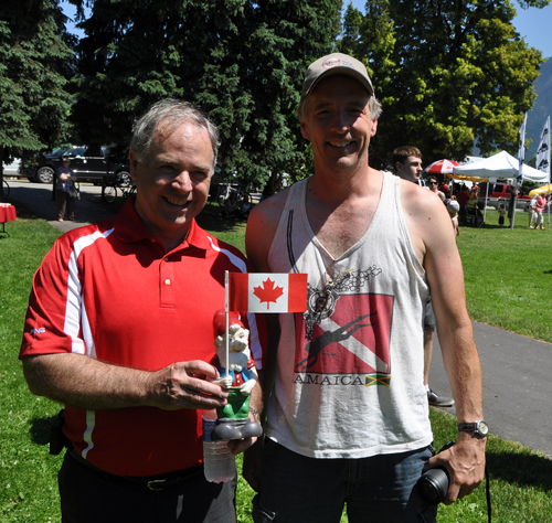 When you're the mayor you some times find yourself in unusual situations... like meeting Gnorm the Gnome who, according to visitor Ian Brown of Red Deer has so far been all over the world. David F. Rooney photo