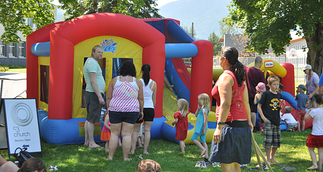 The C3 Church brought their ever-popular inflatable playground. David F. Rooney photo