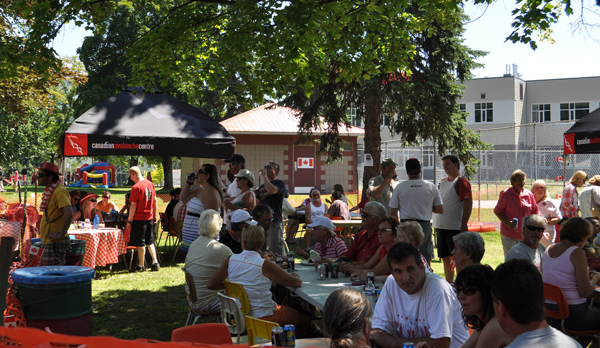 Adults at the beer garden had it made in the shade. David F. Rooney photo