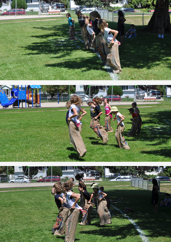 Get ready... set.... GO! Young children loved the Potato Sack Race and other traditional contests. And... yes... those are real potato sacks. Community Centre programmer Megan MacIsaac's father send her a stack of them from PEI. David F. Rooney photo