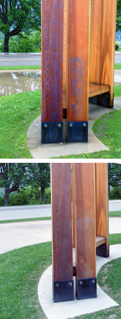These images show the graffiti that was sprayed on Sternwheeler public art installation (top image courtesy of the City of Revelstoke) and the way the now-cleaned wood was damaged by the paint and the chemicals used to remove it. Revelstoke Current illustration