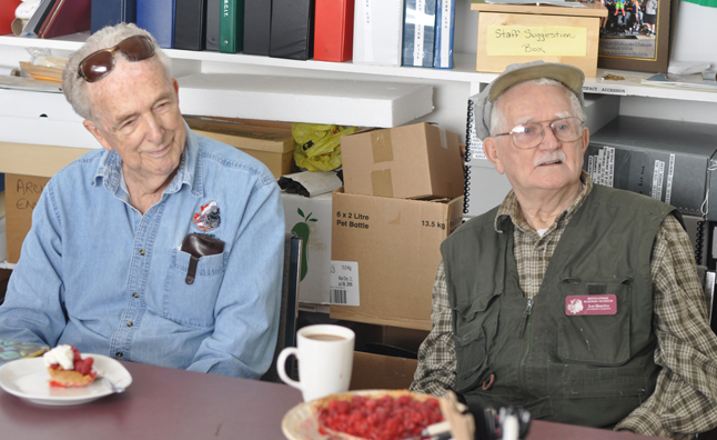 The Revelstoke Railway Museum recently laid on a surprise birthday party for volunteers Ernie Ottweil (left) and Les Handley (right). Les turned 84 on July 12 and Ernie turned 87 last week. They enjoyed the event and the pie that was the center piece for the party. Happy birthday, gentlemen. David F. Rooney photo