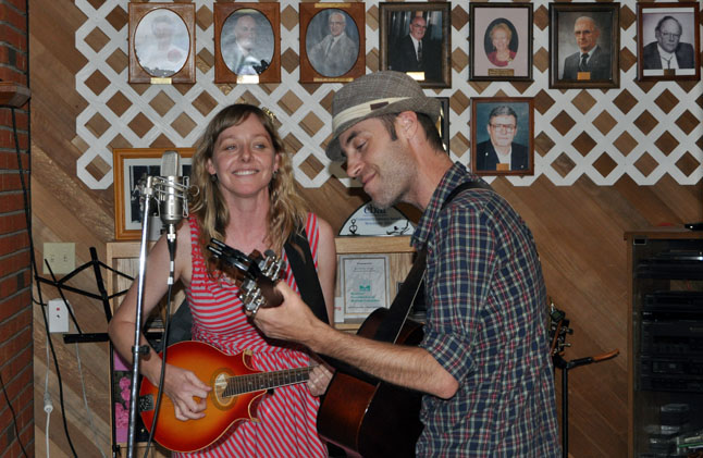 Doris Folkens duoed with Darrin Herting of Seal Skull Hammer to play an interesting set at the start of the Benefit Concert for Baby Neve at the Seniors Centre on Sunday evening. David F. Rooney photo