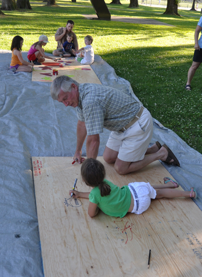 But the odd adult, like Councillor Phil Welock, helped out, too. David F. Rooney photo