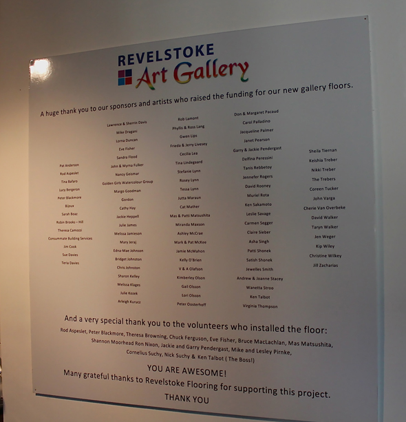 The Visual Arts Society has installed a plaque at the gallery to thank all those who contributed to the acquisition of the gallery's new flooring. Jewelles Smith photo
