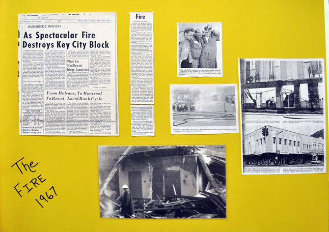 The walls at the bank were decorated with newspaper clipping about the Revelstoke branch, including the fire that saw it burn to the ground in 1967. David F. Rooney photo