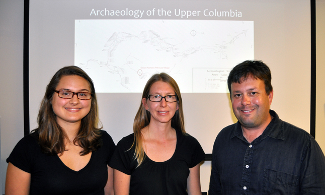 American archeologists peeling back the layers at a 3,000-year-old Sinixt village site at Lemon Creek unveiled some of their findings during a presentation at the Revelstoke Museum & Archives on Monday evening. Archaeology student Erica Kowsz (left) poses with Visiting Instructor Alissa Nauman and Assistant Professor Nathan Goodman of Hamilton College, which is located in Clinton, NY. Goodman and Nauman have been leading an archaeological field school at Lemon Creek where they have been gradually excavating a Sinixt village that's over 3,000 years old. David F. Rooney photo
