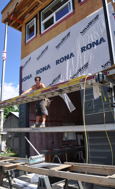 Alex Cadotte was one of the guys working on the Skinny House during our tour on Tuesday morning. David F. Rooney photo