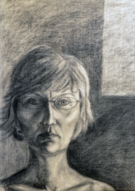 Courage Enough to Walk Away By Barbara Mayes Charcoal on raw canvas