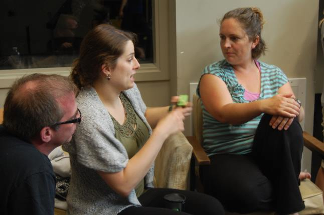 Lead artist Miranda Allen (centre), who represents Edmonton-based Theatre Prospero in this production, talks with acting instructor Anita Hallewas and stage manager Martin Ralph. Allen, who is originally from Revelstoke, led the auditioning and casting and will be playing Helena in the production. Laura Stovel photo