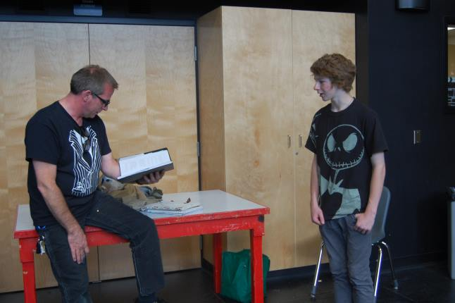 Grayson Norsworthy (right), who plays the role of Lysander, rehearses his lines with the help of stage manager Martin Ralph. Laura Stovel photo