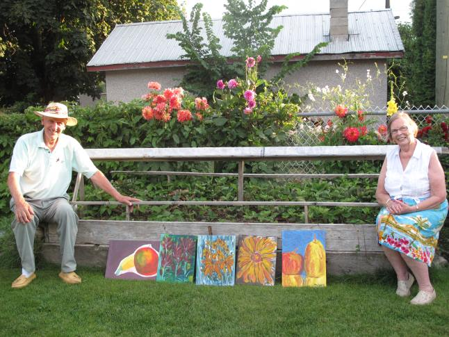 Gardeners Sam and Betty Olynik show the perfect harmony between art, food and flowers. Their garden featured the paintings and ceramics of Patti and Satish Shonek. Laura Stovel photo