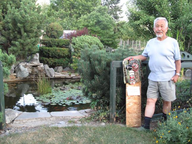 Nancy Geismar's beautiful ceramics are a perfect match for Ken Sakamoto's artistic garden which features a fish pond, trimmed trees, a walnut tree and an abundant vegetable garden. Laura Stovel photo