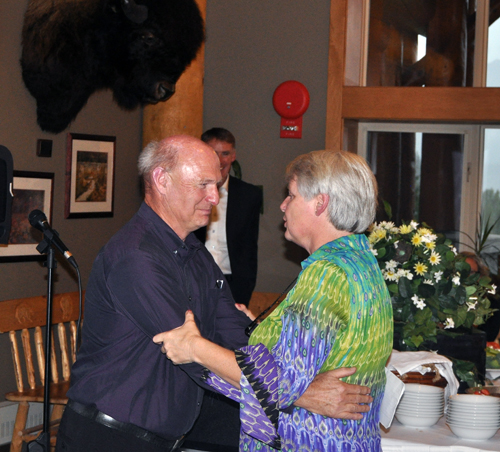 "School Board Chairman Alan Chell had tears in his eyes as he embraced Anne at the conclusion of the formal remarks. ""We're a very small district but when it comes to our image within the province we're up there,"" he said attributing SD 19's success to the superintendent he hired 4 years ago. ""We're No. 1!"" David F. Rooney photo"