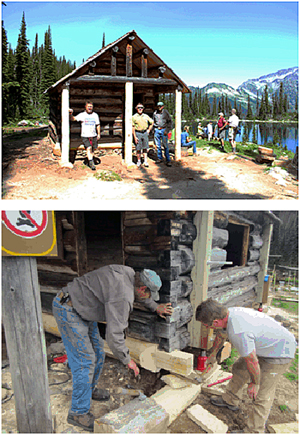 Top photo: The Parks Canada restoration crew from Banff National Park (from left: Sean Buckle, Rick Brown and Frank Burstrom) proudly display the newly restored Eva Lake cabin to those who hiked out to Eva Lake on the annual Eva Lake Pilgrimage, Saturday, August 10, 2013. Jacolyn Daniluck photo courtesy of Parks Canada Bottom photo:From July 31st until August 10th, the crew has been working on the cabin. Here, Frank Burstrom and Shawn Buckle adjust dovetail notching to replace bottom sill logs on the cabin. Claire Sieber photo courtesy of Parks Canada