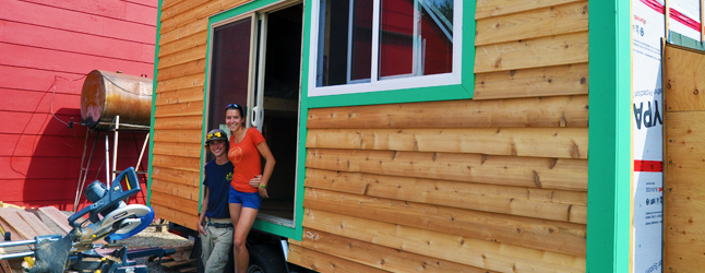 First there was widespread curiosity about Peter Bernacki's Skinny House, now enquiring minds want to know about the Teeny Tiny House — and at 160 square feet it truly is teeny tiny — Jaime Roberton and Cat Gendron are building behind Kelly's Bob Cat Service & Landscaping on Nichol Road.