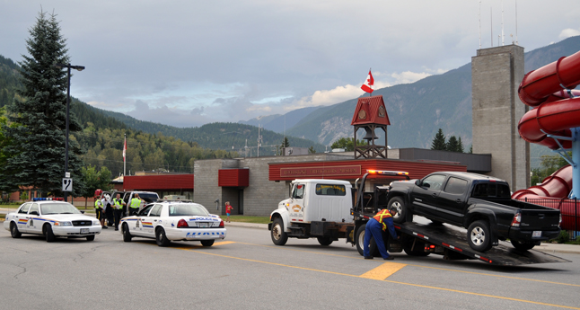 Local Mounties were out in force on Saturday and, by 8:30 had already had a few cars impounded and towed away. The RCMP detachment's determination to enforce the driving laws was absolute. David F. Rooney photo