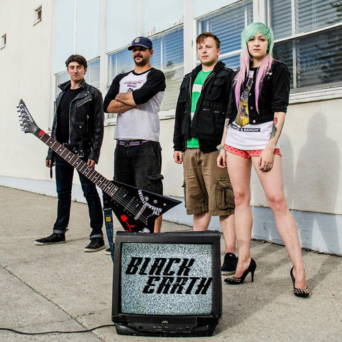 Black Earth — that's Erika Leah on vocals, Anthony J on guitar and backing vocals, Tyler Kocian on bass and Steve Richter on drums — bring their evil pop sound to The Last Drop on August 23. Discover more about them at https://www.facebook.com/blackearthcalgary. Photo courtesy of Black Earth