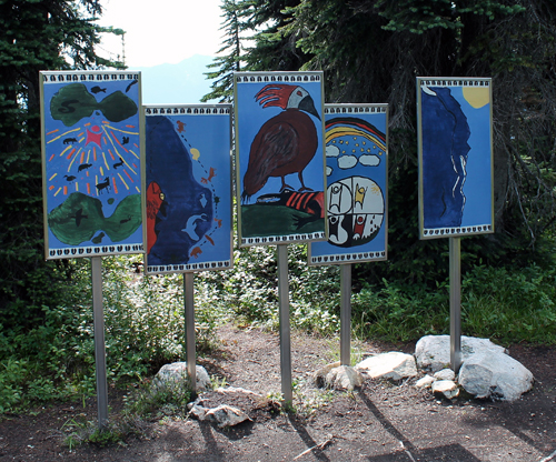 """The role of Parks Canada is being """"a guardian of our National Parks"""" and  involves a """" commitment to protecting our natural and cultural heritage."""" (I quote from the Parks Mandate statement). Does the placement of these pieces of public art fit this mandate or can they be seen  as intrusions into an otherwise natural setting? Eve Fisher photo"""