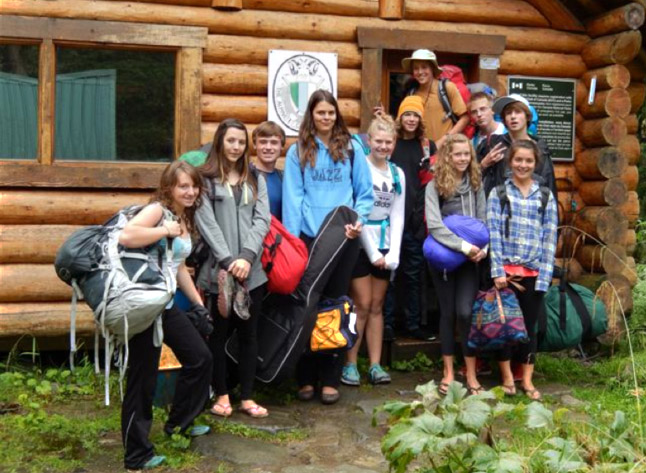It's August 30 and Glacier Adventure Stewardship Program (GASP) students arrive at the ACC Wheeler Hut in Glacier National Park for a weekend of learning and fun. (L to R) Maxine Opatril, Emma Knight Flood, Gordon Mason, Marie Busch, Alexis Allain, River Kelly, Wyatt Callaghan, Sara Howatt, Mackenzie Mallet, Charlie Sykes and Anne-Marie Duchesne. Alice Weber photo courtesy of Parks Canada