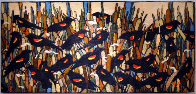 Redwing Blackbirds and Cat Tails By Robin Wiltse Needle and Hand-Felted Wool