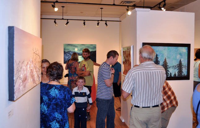 About 100 people attended last Friday's opening of three shows at the Revelstoke Art Gallery. With paintings by Keisha Treber, myself and Kaslo artist Robin Wiltse there was something for art lovers of every age. David F. Rooney photo
