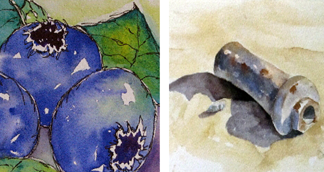 Blueberries & Bolts is the title of an exhibition work by local artists Holly Woods (that's her work on the left) and Denyse Marshall (the bolt on the right is her work) that is being shown at Studio Connexion Gallery in Nakusp, Images courtesy of Studio Connexion Gallery