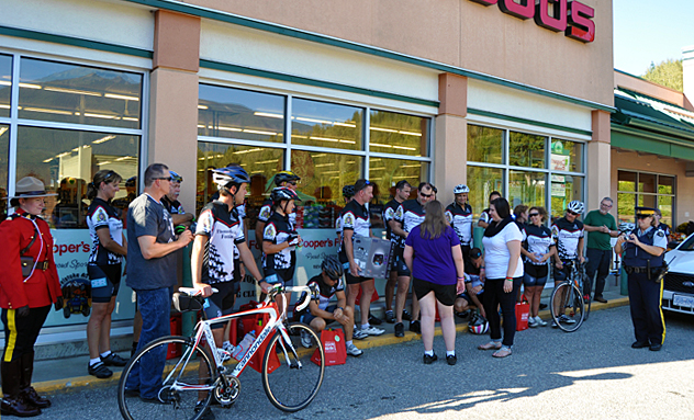 The Cops for Kids foundation's 23 riders wheeled into town on Thursday having raised $91,009 to help children that are in medical, physical or traumatic crisis.  They cycle 1,000 kilometres over 10 days and arrived here bearing gifts for two local children. David F. Rooney photo