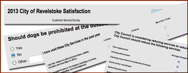 """City Hall has released a no-holds-barred """"customer satisfaction survey"""" it hopes will, finally, provide it with some clear direction as to which municipal services residents wish to see retained — and ditched. Revelstoke Current Photoshop illustration"""