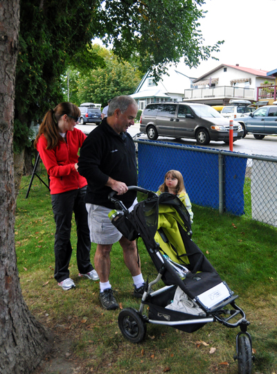 Mayor Dave Raven was ready to hit the pavement with his granddaughter Emma. David F. Rooney photo