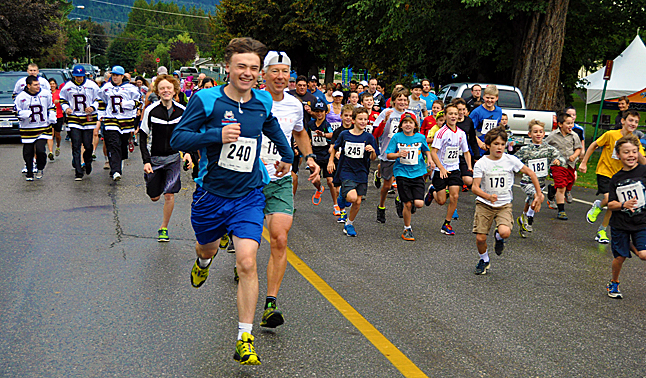 And they're off! About 140 men, women and children of all ages burst past the starting line at the start of the RCU Grizzly Bear Run on Sunday, September 22. Some of them went for the full 10-kilometre run, others kept it simple with the five-kilometre track. David F. Rooney photo