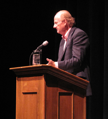 """Intellectual John Ralston Saul speaks at the Performing Arts Centre on Friday evening. """"It was an interesting talk and fairly well attended - the theatre was between 1/3 and 1/2 full,"""" writer Laura Stovel said later. Saul spoke extensively about his new book, A fair country: Telling truths about Canada. In his book, Saul argues that Canadians have forgotten – sometimes deliberately – the long history of cooperation between Aboriginal people and the first European settlers, traders and travelers. Canadian culture has been much more influenced by Aboriginal cultures than we care to admit. The Canadian preference for equality, diversity and inclusion of new cultures, our ability to work with political complexity and our connection with nature – the qualities that make us distinct from other national cultures – are rooted in our many years of cooperative interactions with Aboriginal people. If we are looking for a template for the future, he says, maybe we need to acknowledge and reclaim our true past. Laura Stovel photo"""