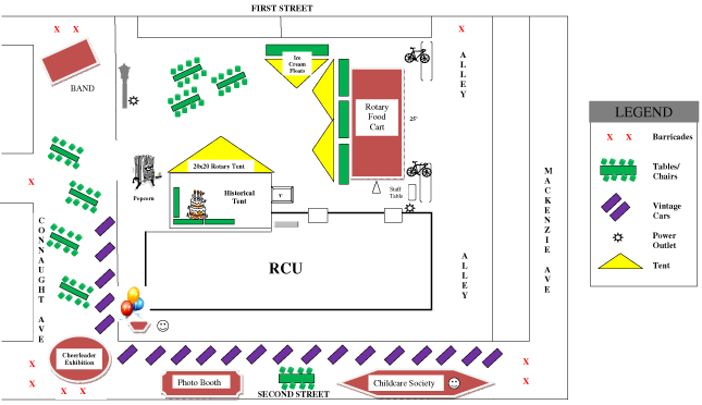 The Revelstoke Credit Union's party on Saturday afternoon should be a terrific celebration of its 60 years of growth and success. Connaught will be closed to vehicle traffic at First and Second Street West and Second Street will be closed at Mackenzie. Map courtesy of the Revelstoke Credit Union