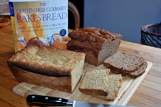 Savage Delights' test kitchen compared Bob's Red Mill Hearty Whole Grain Bread Mix with Bette Hagman's Four Bean Flour Oregon Bread. Leslie Savage photo