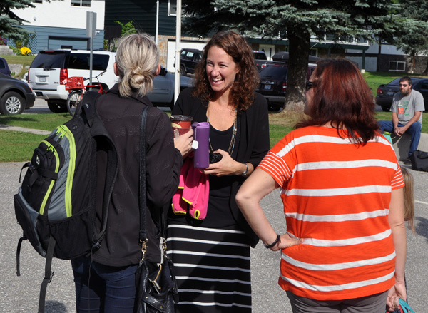 Grade Four Teacher Tracy Hill (center) shares a laugh with a couple of moms at CPE's Mug and Muffin. David F. Rooney photo
