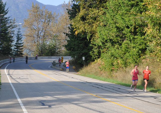 Terry Fox Run participants spill down Red Devil Hill on Airport Way. David F. Rooney photo