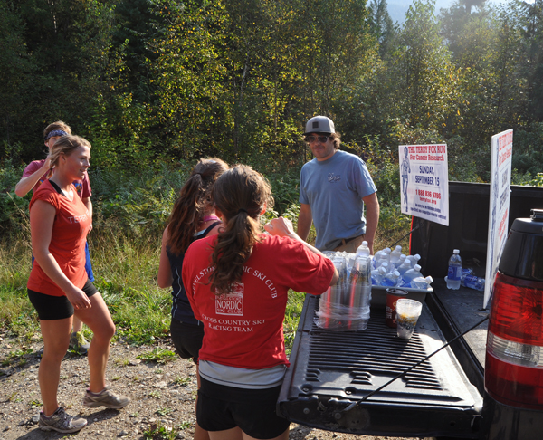 Most Terry Fox participants were feeling a tad dehydrated when they reached Williamson's Lake. Lucky for them, Last Drop employee John Price was on hand with a truck-load of bottled water. David F. Rooney photo