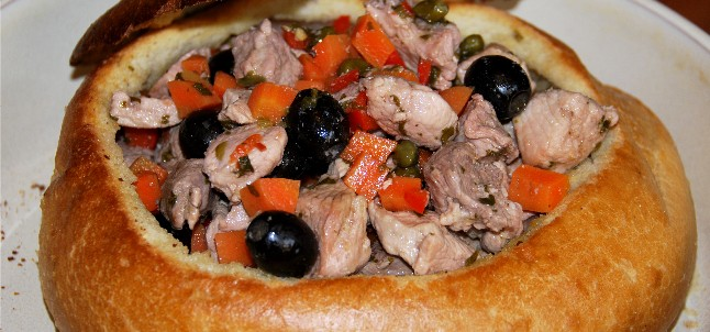 This pork stew can be made with chicken as well. The sourdough loaf casing is easy, pretty and tastes great too.