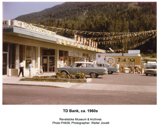 The Toronto-Dominion Bank opened 50 years ago at this little shopping plaza in downtown Revelstoke. The Shop Easy is now the Red Apple,  automotive styles have changed radically over the years and the bank has changed its name to the TD Canada Trust but its service to members of the community hasn't changed at all. Walter Jowett photo courtesy of the Revelstoke Museum & Archives
