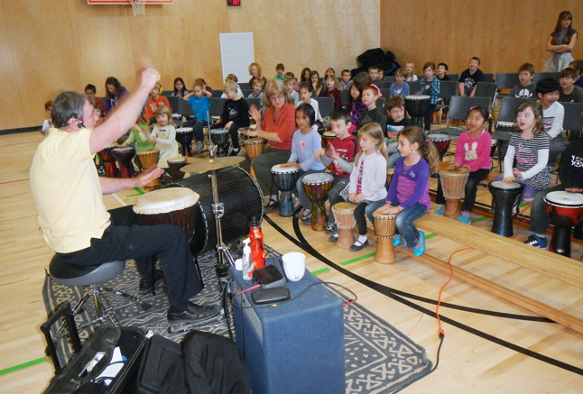 The kids at Begbie View loved Milton Randalls's drumming class. Photo by student reporter-photographer Kobe Brunetti