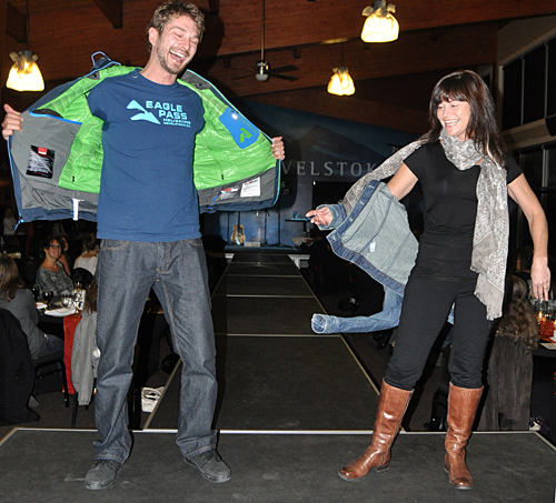 Ryan and Allie have some fun flashing the crowd with their clothes from Eagle Pass. David F. Rooney photo