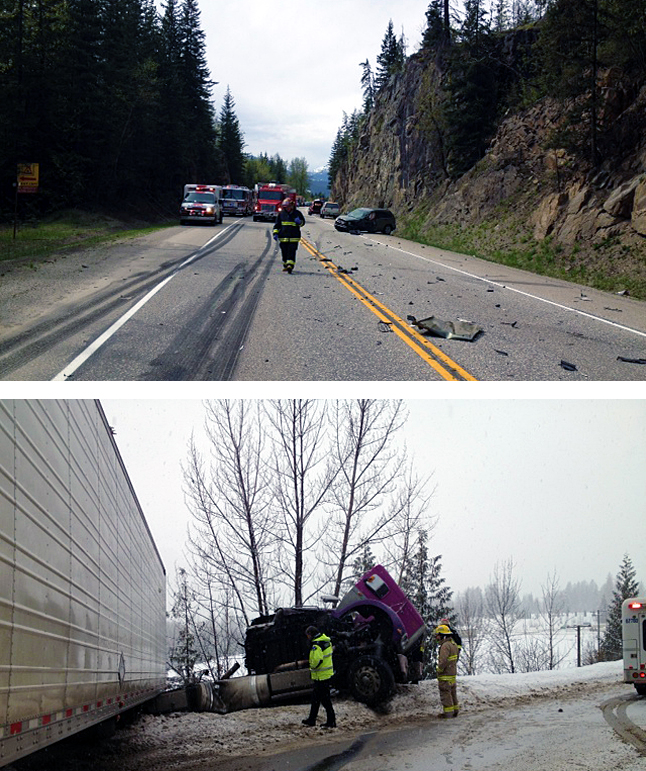 Revelstoke Highway Rescue firefighters, shown here on the job, were nominated this year as a group for their valued services with respect to highway rescue. Photos courtesy of the Revelstoke Fire Rescue Service