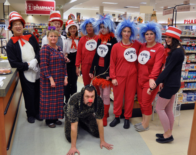 Pharmasave was aptly renamed Hui-ville. Staff had a good time fulfilling their Dr. Seuss dreams from Steven as the Cat in the Hat himself to Things One through four and Andrew as Max the dog from Dr. Seuss' How the Grinch Stole Christmas. David F. Rooney photo