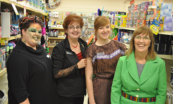 Jodie, Carol, Lindsay and Patti had a good time dressing up at People's.  David F. Rooney photo