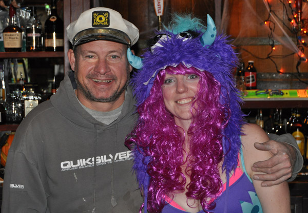 And over at the Last Drop Captain Frank snuggled up to Kathleen the naughty demonic bartender.  David F. Rooney photo