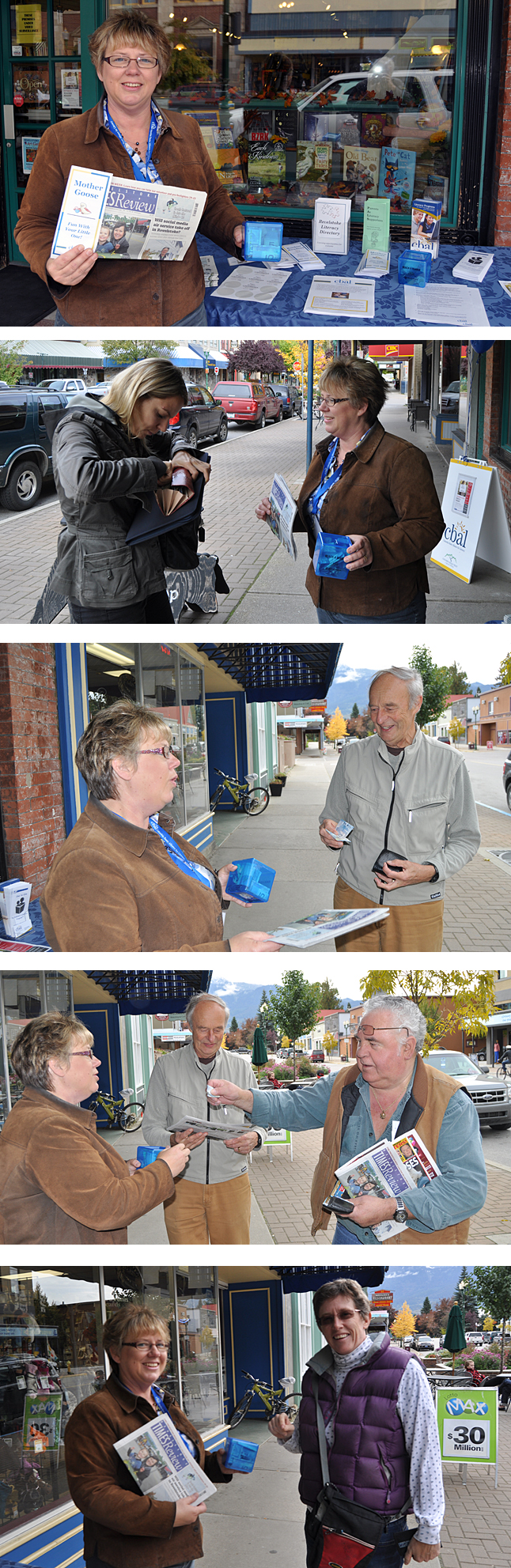 Talk about keeping busy! Linda Chell spent much of Wednesday afternoon handing out free copies of The Times Review in exchange for a donation to benefit the Columbia Basin Alliance for Literacy programs in Revelstoke. In the course of her shift she met all kinds of generous people including Heike Prokoph, Jeff Nicholson, Art Bellerose and Rosemary Granstrom. Great work Linda! David F. Rooney photos