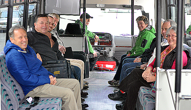 Revelstoke's  Council members and senior City staff enjoyed a quick tour of the city ob board the new bus. That's Brent Lea behind the wheel and fellow driver Lisa Longinotto up front. It was a pretty smooth ride. Ther new shuttle can carry 45 skiers and all their gear, compared to 35 on the old shuttles. David F. Rooney photo